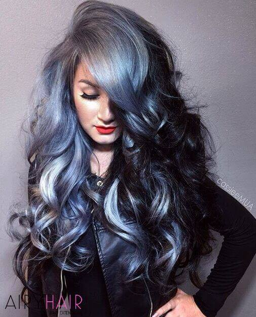 Grey side-bangs ombre