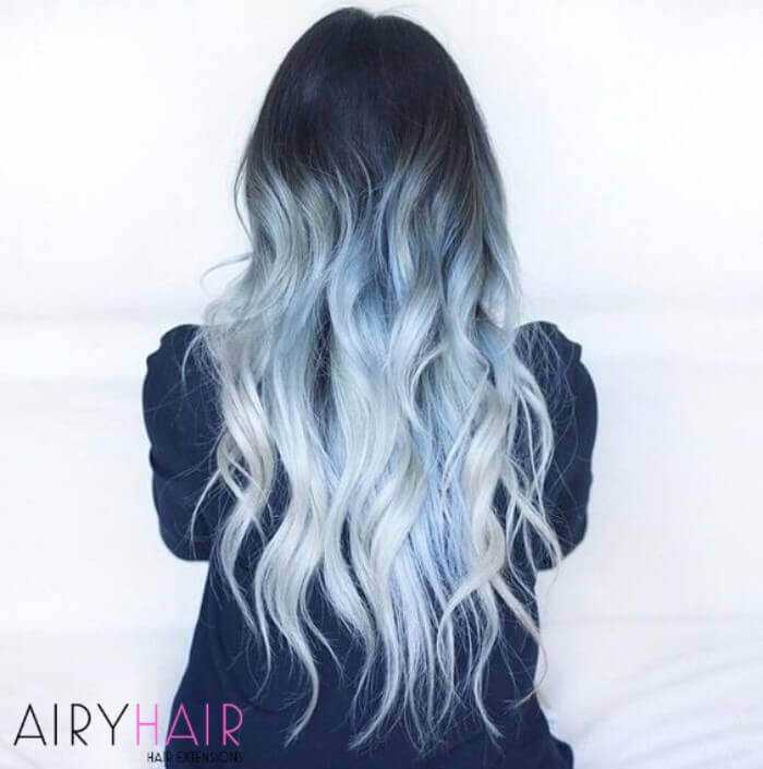 Pastel blue to pure white ombre extensions