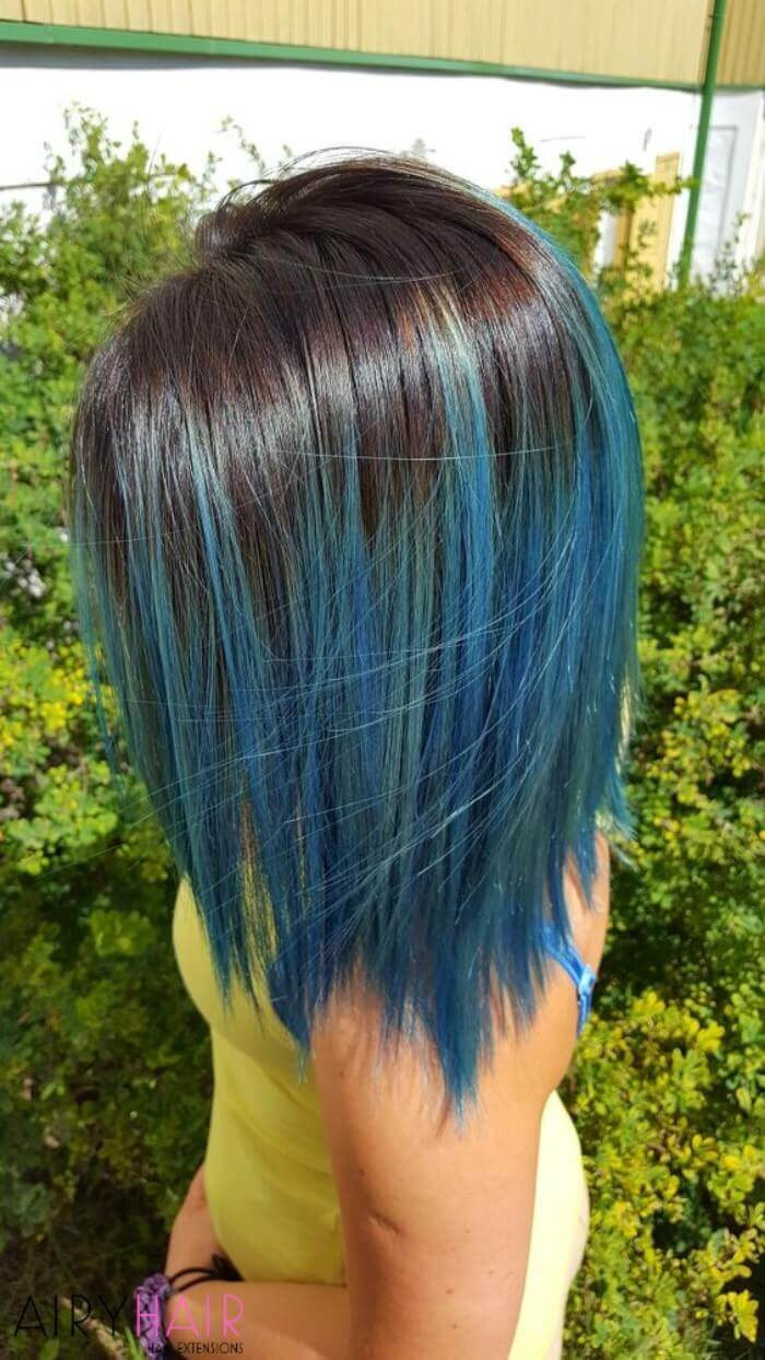 2019 year for lady- Brown Dark hair with blue ombre