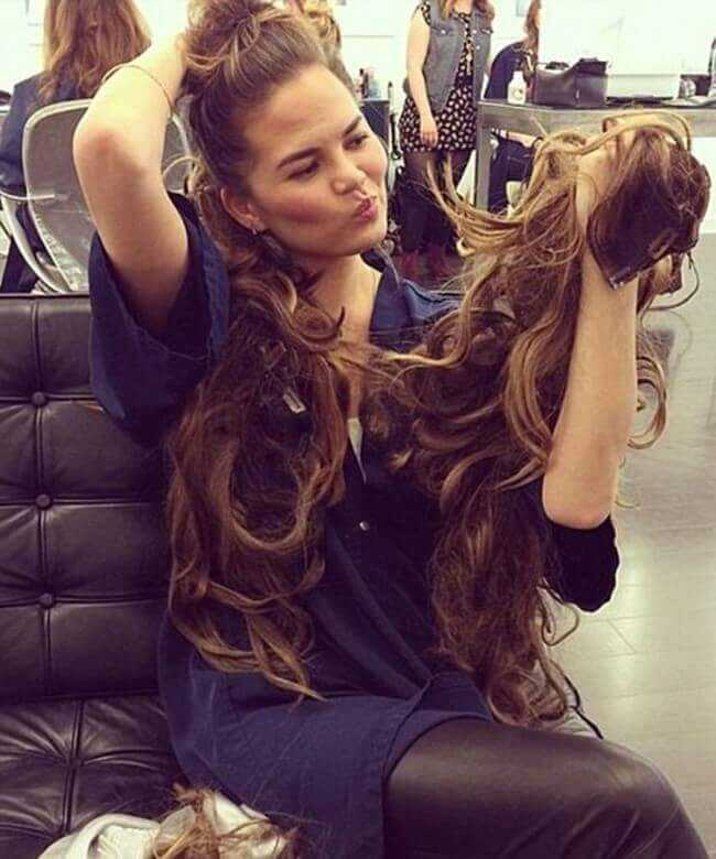 Chrissy Teigen with Hair Extensions