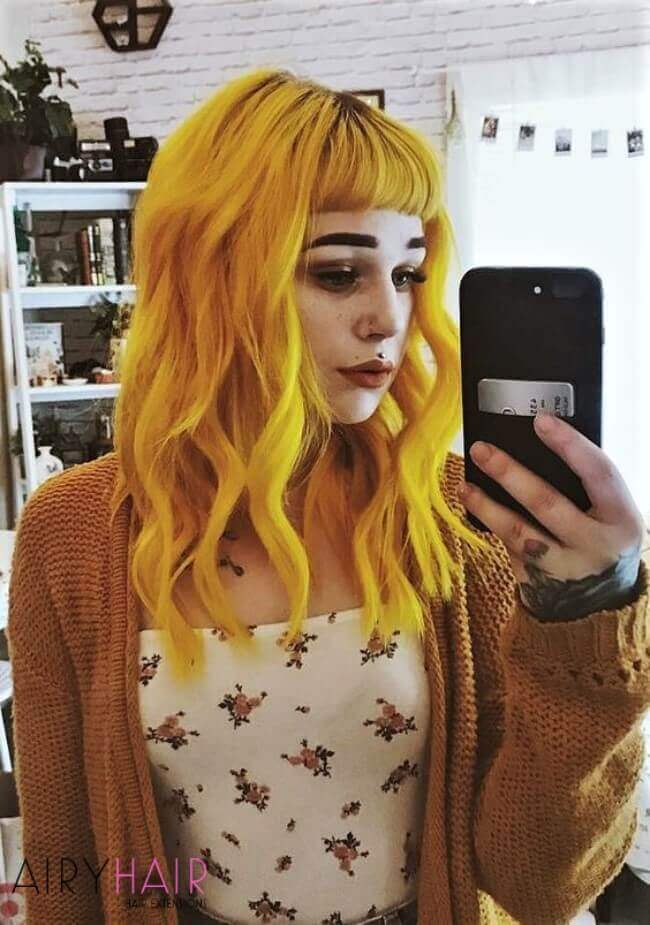 Yellow color hair extensions