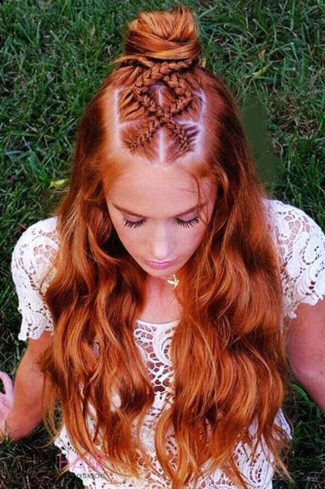 Copper hairstyle with extensions