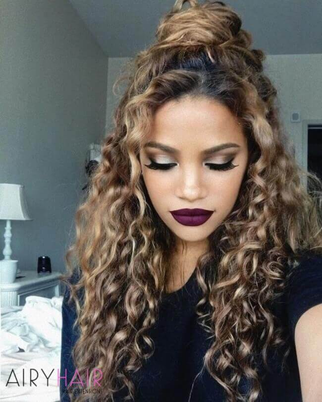 Curly hairstyle with extensions