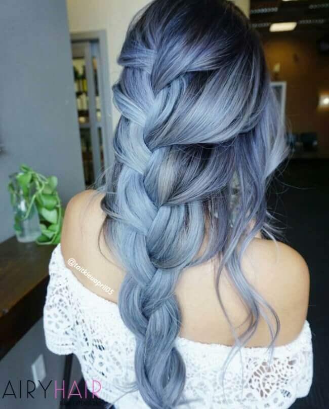Pastel blue color hair
