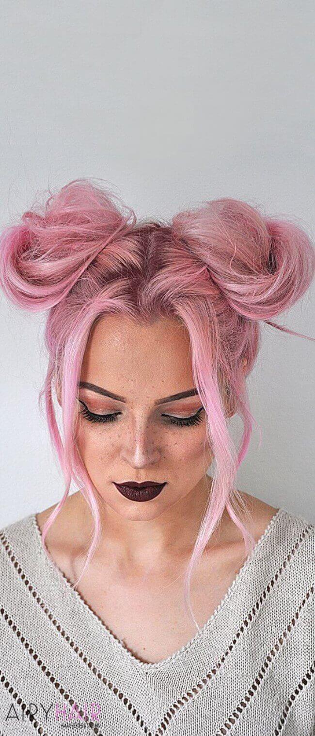 Pink hair buns