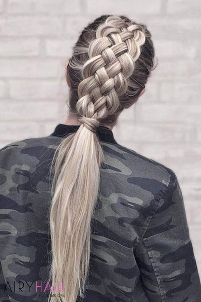 Wide braids with hair extensions