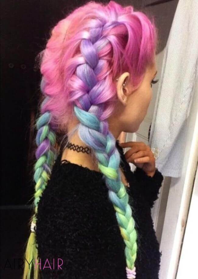 Rainbow color hair extensions