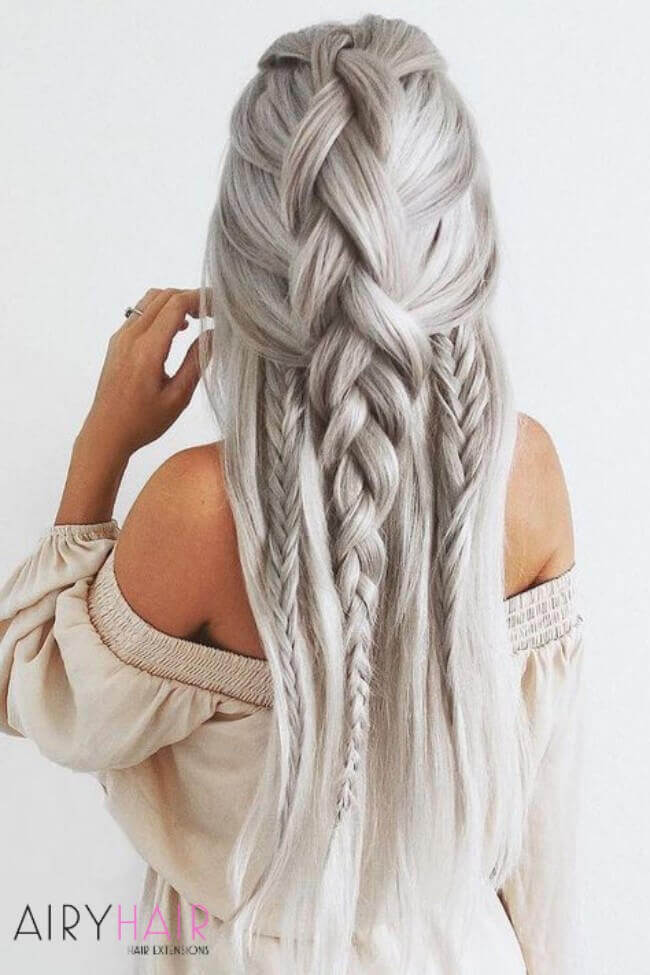 white gray hair extensions