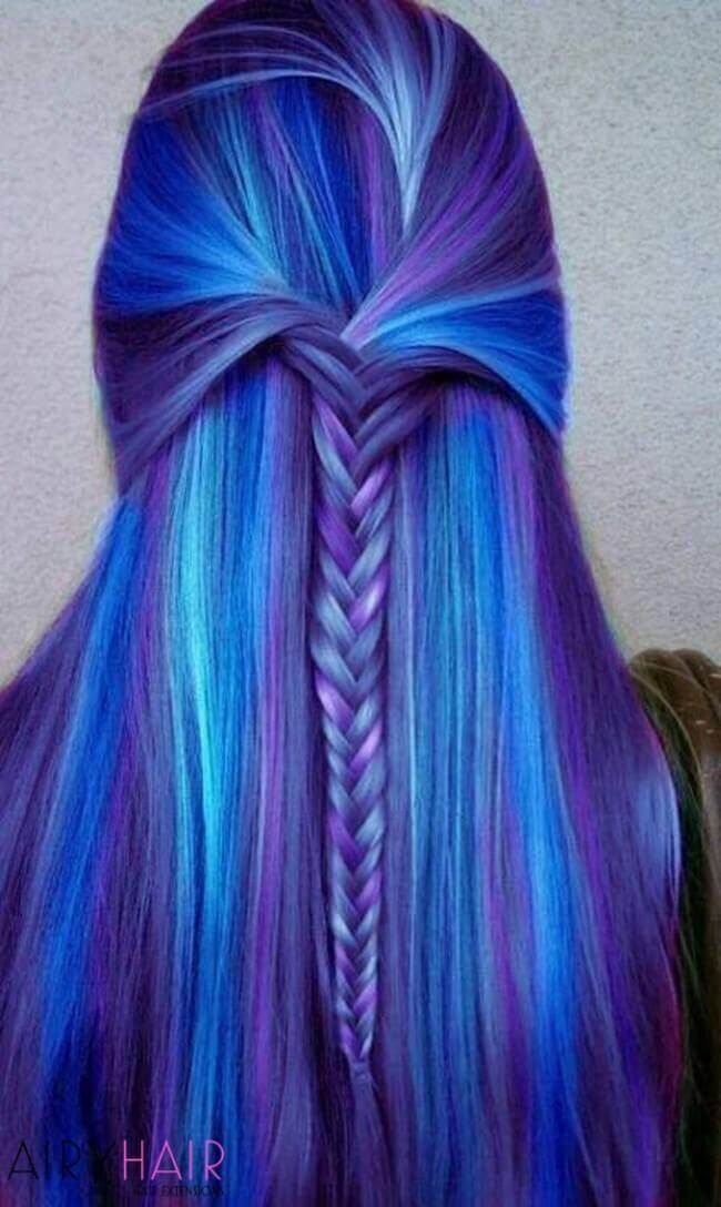 Electric blue hair extensions