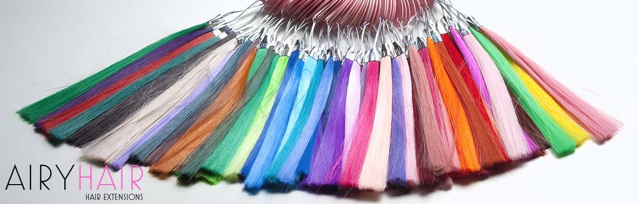 A variety of different hair color strands