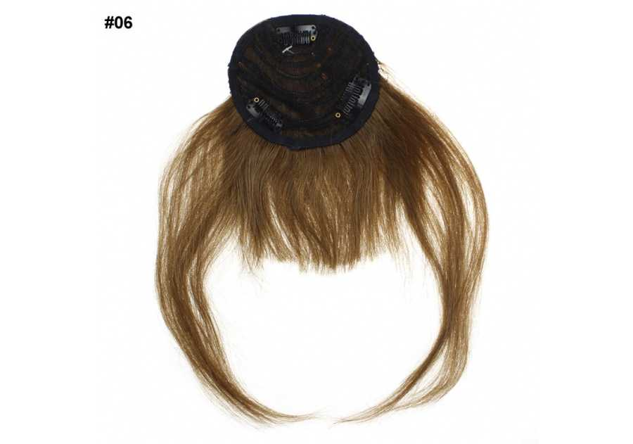 Brown Clip-In Real Human Hair Wig / Fringe