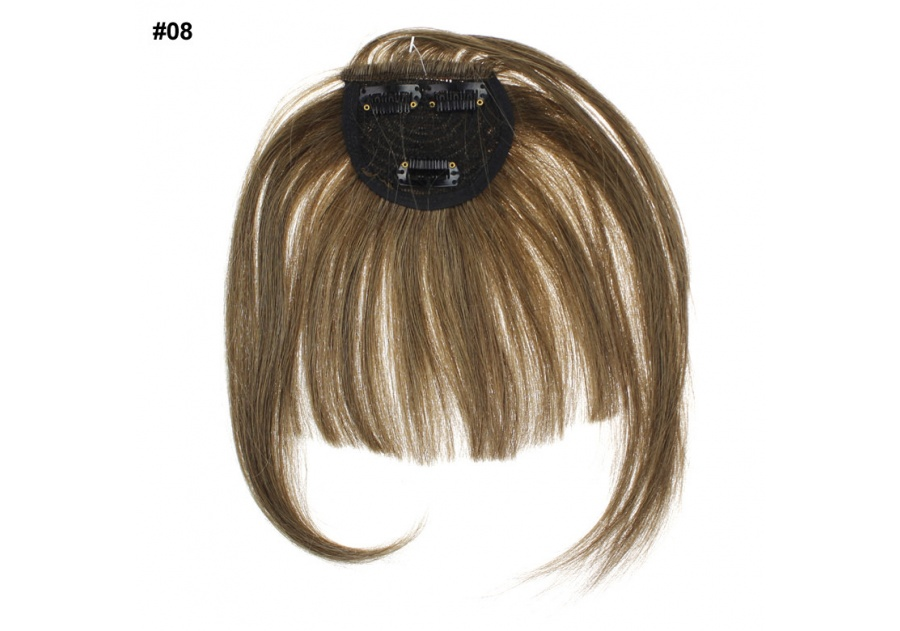 Light Brown Clip-In Real Human Hair Wig / Fringe