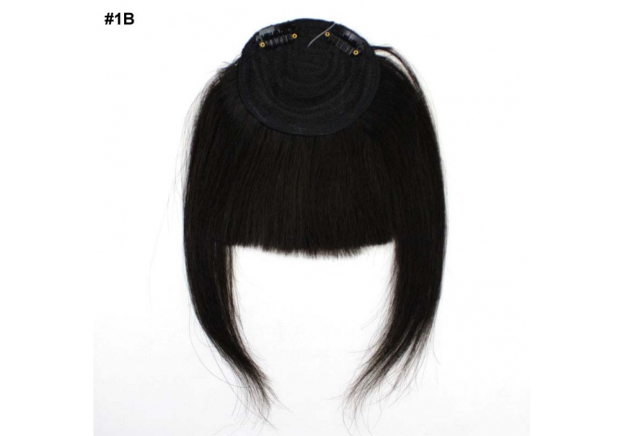 Black Clip-In Real Human Hair Wig / Fringe