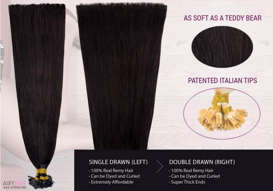 Remy Human Hair Flat Tip Hair Extensions