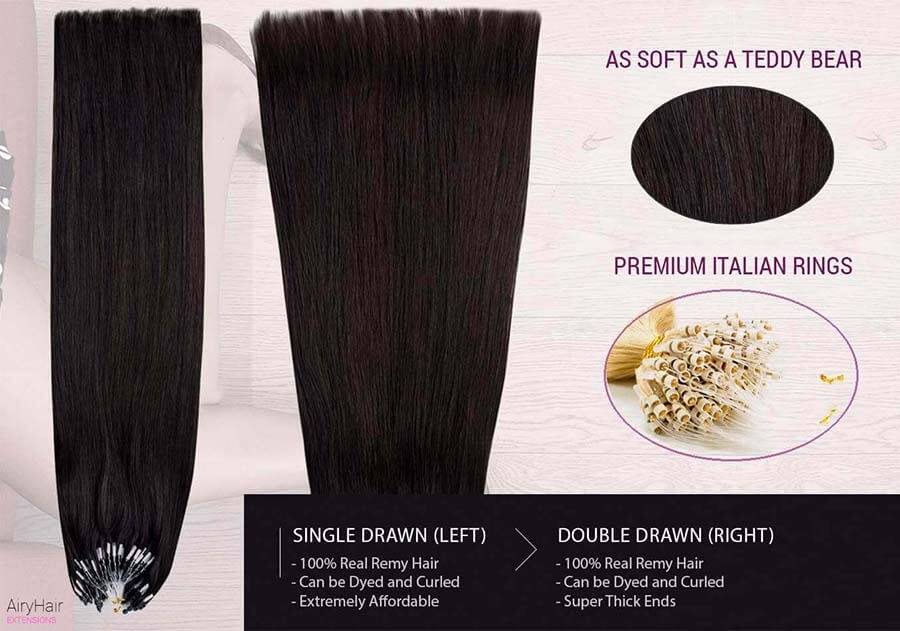 Straight Micro Ring Loop Human Hair Extensions