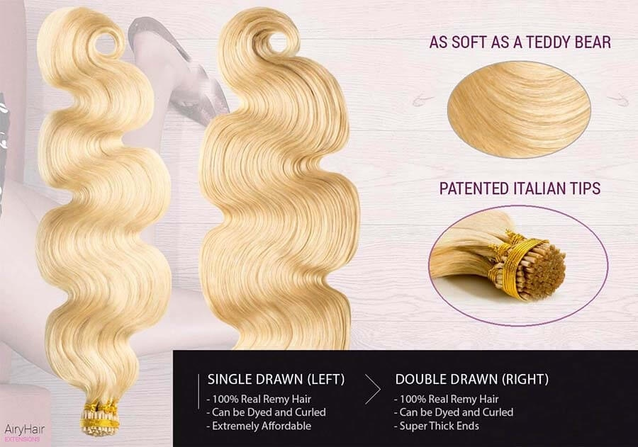 Body Weave Stick / I-Tip Remy Human Hair Extensions