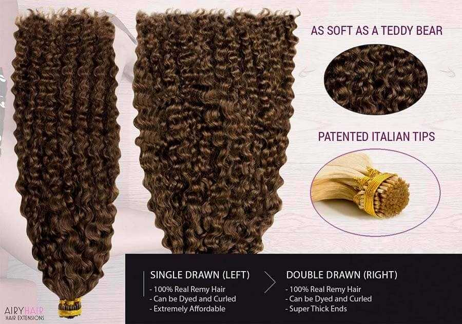 Curly Stick / I-Tip Remy Human Hair Extensions