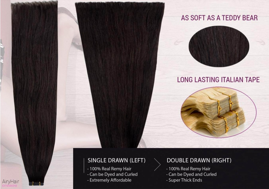 Straight Tape-in Hair Extensions: Single vs. Double Drawn