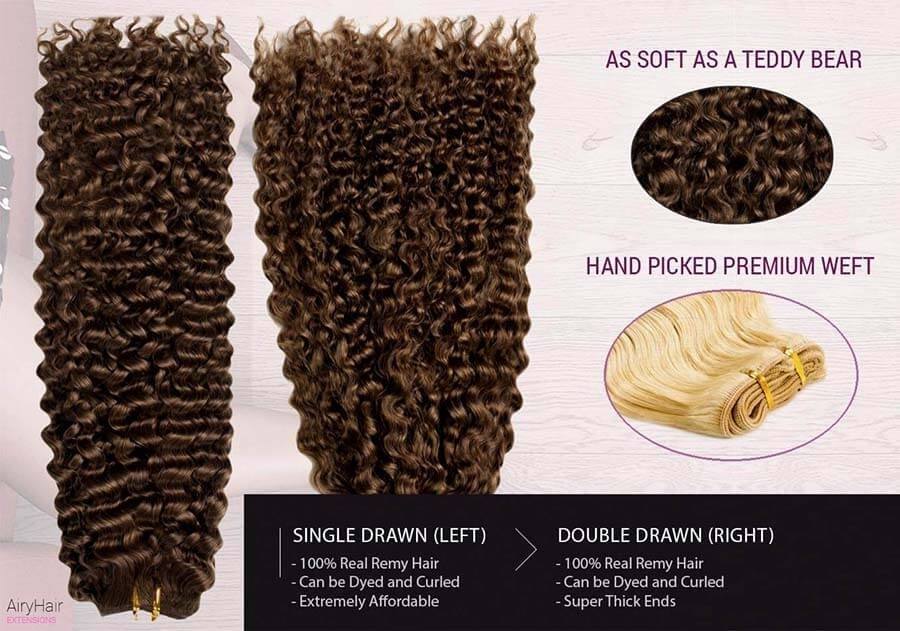 Weft Human Hair Extensions, Curly