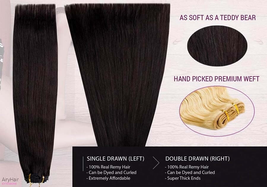 Weft Human Hair Extensions, Straight