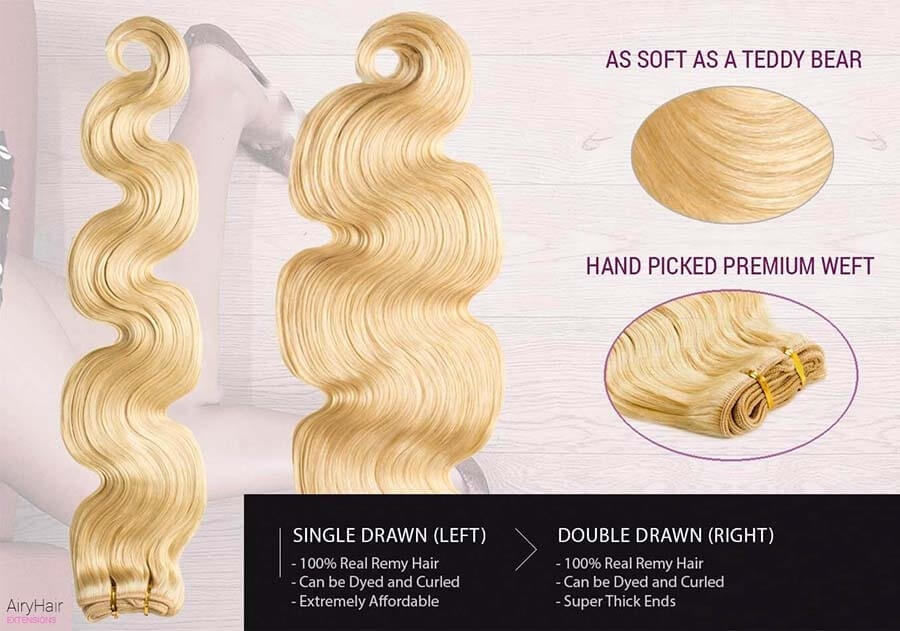 Weft Human Hair Extensions, Body Weave