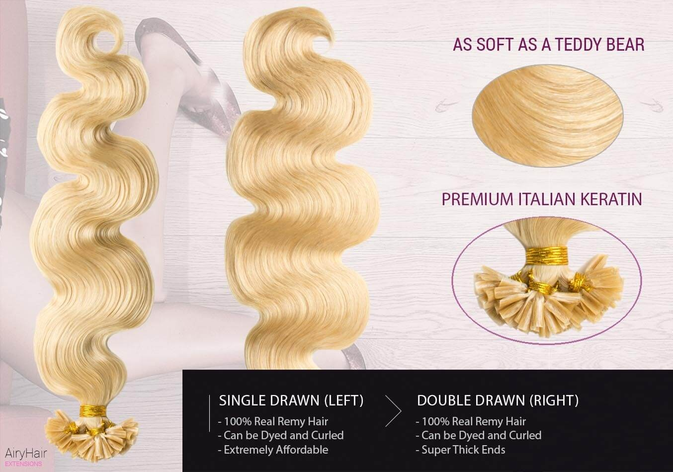Glue In Artificial Body Wave Hair Extensions Airyhair
