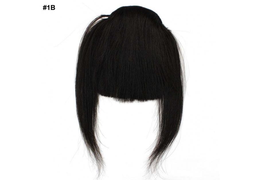 Black Clip-In Real Human Hair Wig / Fringe