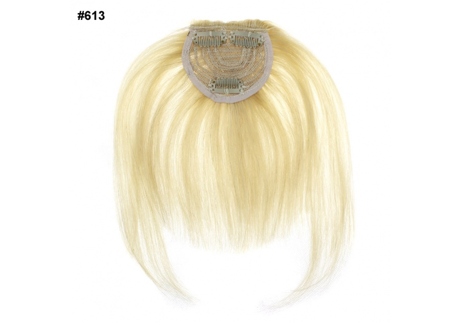 White Blond Clip-In Real Human Hair Wig / Fringe