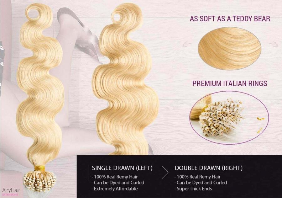 100% Ekte Hår - Remy Microringer Hair Extensions (Bølger)