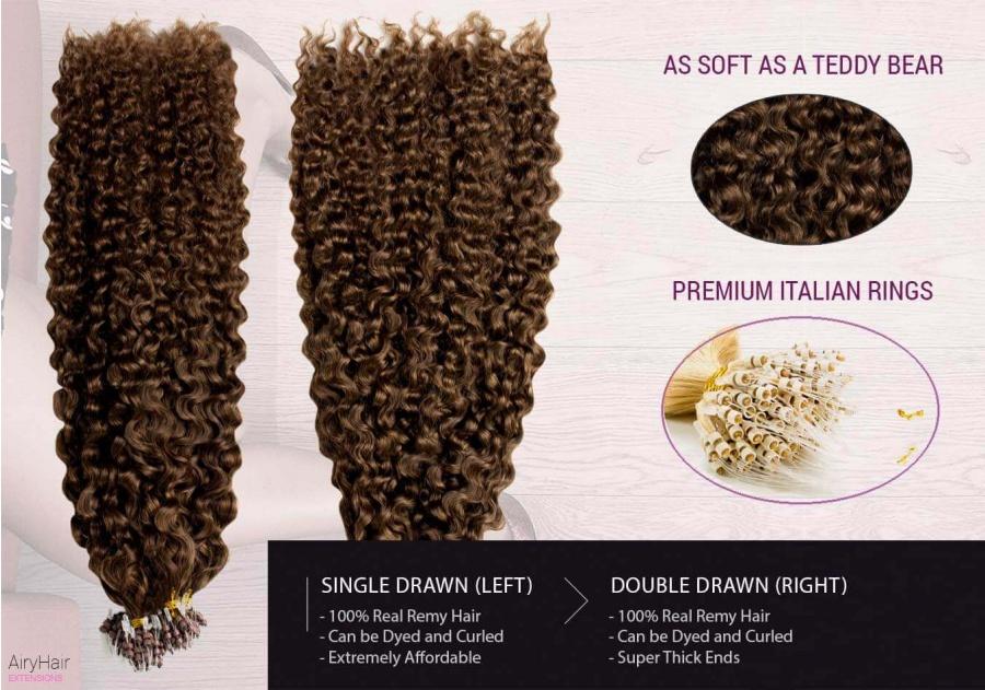 100% Ekte Hår - Remy Microringer Hair Extensions (Krøller)