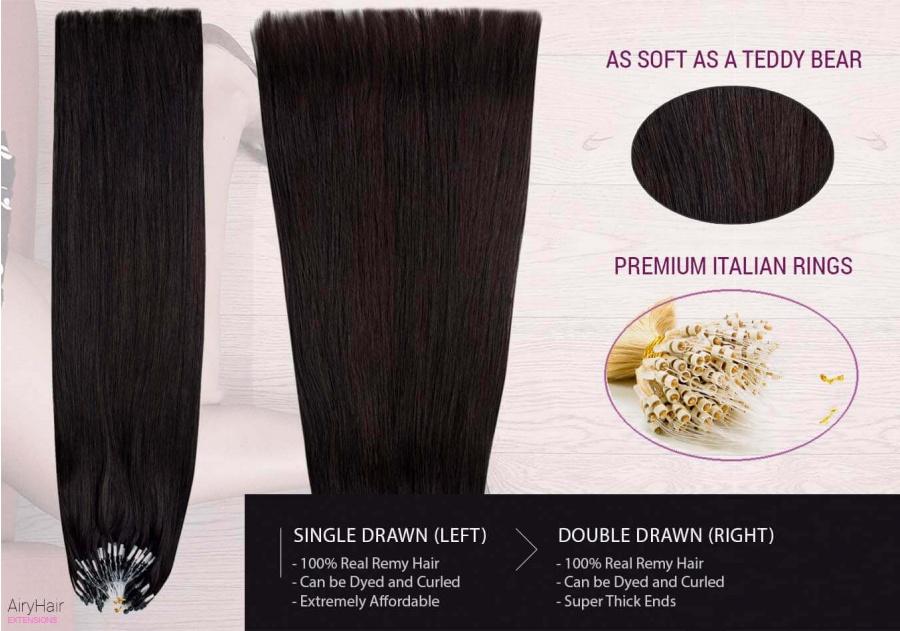 100% Ekte Hår - Remy Microringer Hair Extensions (Rett)