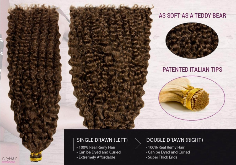 Ekte Hår - Remy Cold Fusion Hair Extensions (Krøller)