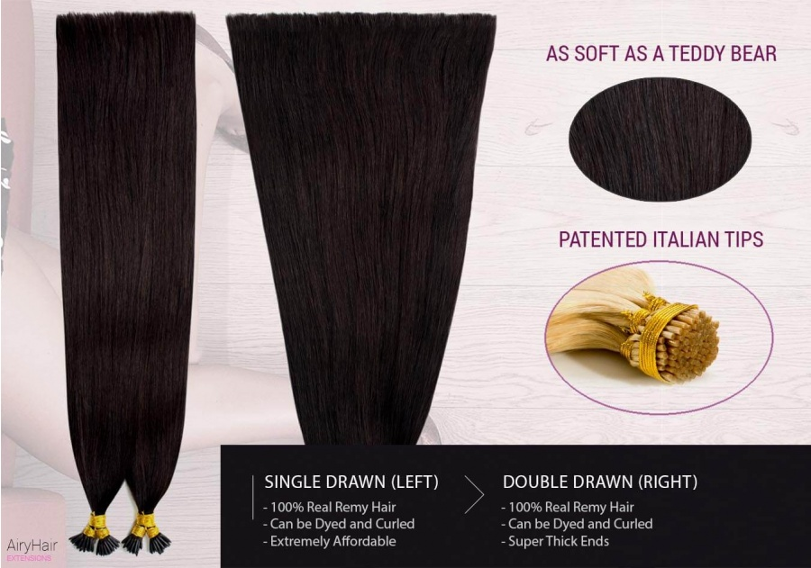 Ekte Hår - Remy Cold Fusion Hair Extensions (Rett)