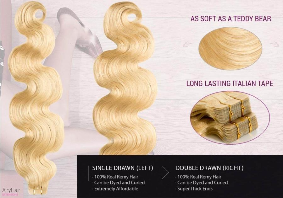 100% Ekte Hår - Remy Tape Hair Extensions (Bølger)