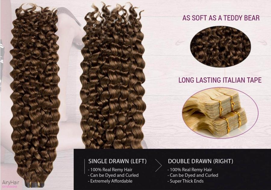100% Ekte Hår - Remy Tape Hair Extensions (Krøller)