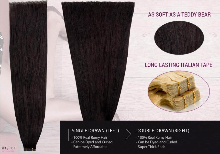100% Ekte Hår - Remy Tape Hair Extensions (Rett)